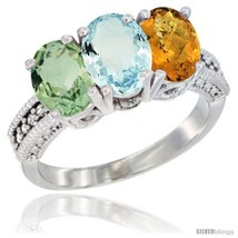 Size 9.5 - 14K White Gold Natural Green Amethyst, Aquamarine & Whisky Qu... - £582.20 GBP