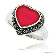 Size 7 - Sterling Silver Oxidized Heart Ring w/ Red Resin, 9/16in  (15 mm)  - $23.76