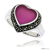 Size 6 - Sterling Silver Oxidized Heart Ring w/ Purple Resin, 9/16in  (1... - $23.76