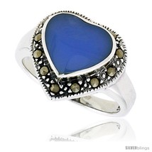 Size 6 - Sterling Silver Oxidized Heart Ring w/ Blue Resin, 9/16in  (15 ... - £18.37 GBP