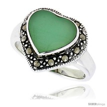 Size 7 - Sterling Silver Oxidized Heart Ring w/ Green Resin, 9/16in  (15... - £18.37 GBP
