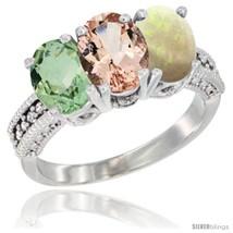 Hite gold natural green amethyst morganite opal ring 3 stone 7x5 mm oval diamond accent thumb200