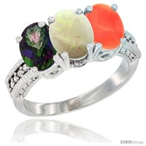 14k white gold natural mystic topaz opal coral ring 3 stone 7x5 mm oval diamond accent thumb200