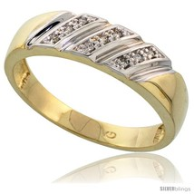 Size 10 - Gold Plated Sterling Silver Mens Diamond Wedding Band, 1/4 in wide  - $89.36