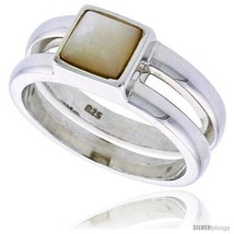 Size 5 - Sterling Silver Ladies' Band w/ a Square-shaped Mother of Pearl, 5/16in - $60.76