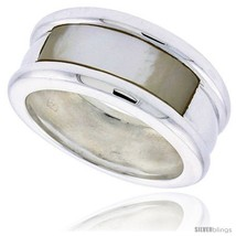 Size 9 - Sterling Silver Ladies' Band w/ a Rectangular Mother of Pearl, 3/8in   - $74.52