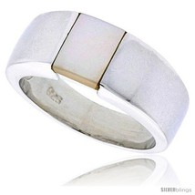Size 9 - Sterling Silver Ladies' Band w/ Mother of Pearl, 5/16in  (8 mm)  - $69.66