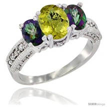 Size 5.5 - 14k White Gold Ladies Oval Natural Lemon Quartz 3-Stone Ring ... - $701.57