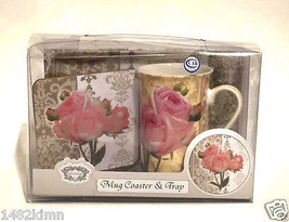 Kent Pottery 3 Piece Mug Tray Coaster Set Roses... - $16.40