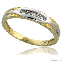 Size 12 - Gold Plated Sterling Silver Mens Diamond Wedding Band, 3/16 in wide  - $76.94