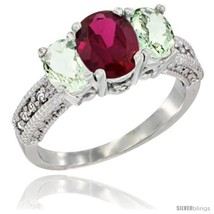 Size 5.5 - 14k White Gold Ladies Oval Natural Ruby 3-Stone Ring with Green  - $710.56