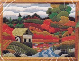 Creative Circle Old Mill Country Farm Fall Trees Longstitch Needlepoint Kit 1510 - $37.95