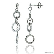 Sterling Silver Dangling Circles Post Earrings, 1 3/8 (36  - $30.06