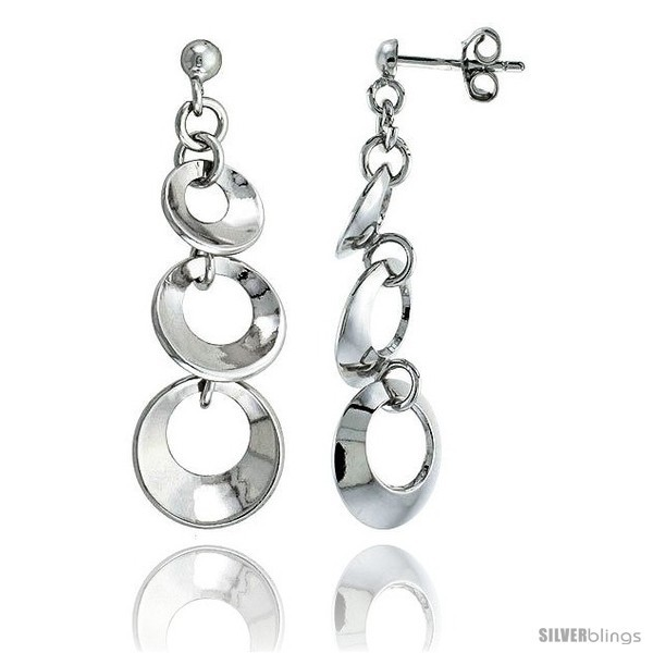 Primary image for Sterling Silver Graduated Circles Dangling Post Earrings, 1 1/2 (38