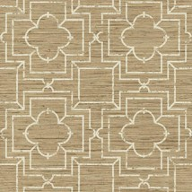 Faux Blonde and Beige Grasscloth with Cream Lattice Overlay Wallpaper GE3657 - $30.80