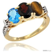 Size 6 - 10K Yellow Gold Natural Swiss Blue Topaz, Garnet & Tiger Eye Ring  - $546.75