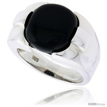 Size 13 - Sterling Silver Gents' Ring w/ Jet Stone, 9/16in  (14 mm)  - $76.74