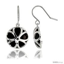 Round Black Onyx Dangle Earrings in Sterling Silver, 11/16in  (18 mm)  - $73.25