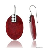 Sterling Silver Oval Natural Red Coral Earrings 1 1/4in  (31  - $41.25