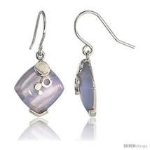 Diamond-shaped Blue lace Agate Dangle Earrings in Sterling Silver, 11/16in  (18  - $78.40