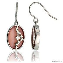 Oval-shaped Pink Mother of Pearl Dangle Earrings in Sterling Silver, 3/4in  (19  - $69.82