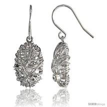 Sterling Silver Oval Filigree Dangle Earrings w/ Brilliant Cut CZ Stone, 13/16in - $63.58