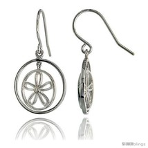 High Polished Flower & Circles Dangle Earrings in Sterling Silver, w/ Brilliant  - $47.20