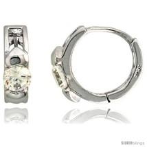 Sterling Silver Huggie Hoop Earrings w/ Double Teeny Hearts, w/ Brilliant Cut  - $27.63