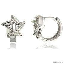Sterling Silver Star Cut Out Huggie Hoop Earrings w/ Baguette CZ Stones,... - $17.29