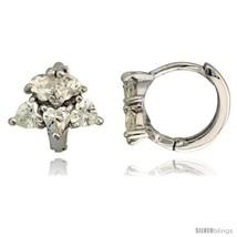 Sterling Silver Tiny Huggie Hoop Earrings w/ Heart-shaped CZ Stone Cluster,  - $23.40
