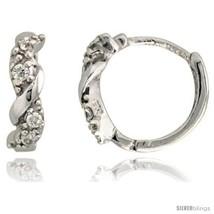 Sterling Silver Huggie Hoop Swirl Earrings w/ Brilliant Cut CZ Stones, 7/16in   - $18.27