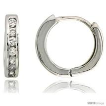 Sterling Silver Eternity Huggie Hoop Earrings w/ Brilliant Cut CZ Stones, 9/16in - $52.29