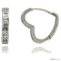 Sterling Silver Heart-shaped Huggie Hoop Earrings w/ Brilliant Cut CZ Stones,  - $34.38