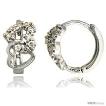 Sterling Silver Double Heart Cut Out Huggie Hoop Earrings w/ Brilliant Cut CZ  - $23.40