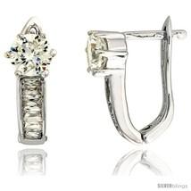 Sterling Silver V-shaped Huggie Earrings w/ Baguette & Brilliant Cut CZ Stones,  - $59.04