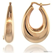 Sterling Silver Italian Puffy Hoop Earrings U-shaped with Rose Gold Finish, 1  - $103.79