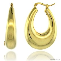Sterling Silver Italian Puffy Hoop Earrings U-shaped with Yellow Gold Finish, 1  - $103.79