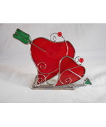 HEART Shaped TEALIGHT HOLDER Double Hearts With Arrow (#38224) - $6.00