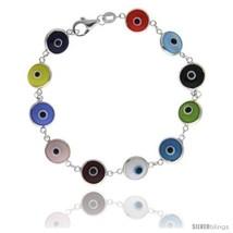 Sterling Silver Multi Color Evil Eye Bracelet, 7 in  - $17.65