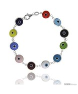 Sterling Silver Multi Color Evil Eye Bracelet, 7 in  - $17.65