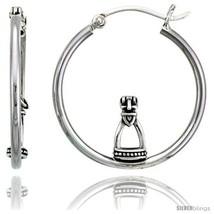 Sterling Silver Stirrup Hoop Earrings, 1 1/8in  (28  - $31.67
