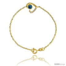Sterling Silver (Gold Plated) 6.75 in. Cable Link Chain Bracelet Jeweled... - $45.43