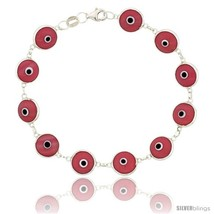 Sterling Silver Pink Color Evil Eye Bracelet, 7 in  - $17.65