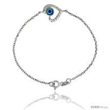 Sterling Silver 6.75 in. Cable Link Chain Bracelet Jeweled Heart Evil Eye  - $45.43
