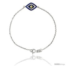 Sterling Silver 6.75 in. Cable Link Chain Bracelet Jeweled Evil Eye  - $45.43