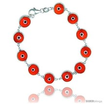 Sterling Silver Orange Color Evil Eye Bracelet, 7 in  - $17.65