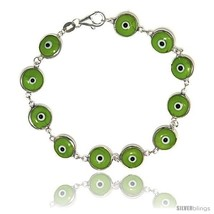 Sterling Silver Apple Green Color Evil Eye Bracelet, 7 in  - $17.65