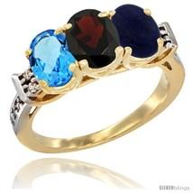 Size 6.5 - 10K Yellow Gold Natural Swiss Blue Topaz, Garnet & Lapis Ring  - $546.75