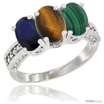Size 7 - 10K White Gold Natural Blue Sapphire, Tiger Eye & Malachite Ring  - $582.65