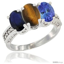 Size 7.5 - 10K White Gold Natural Blue Sapphire, Tiger Eye & Tanzanite R... - $635.99